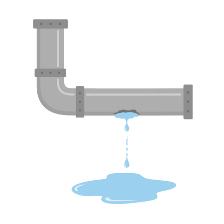 Leaking pipe with flowing water vector illustration on white isolated background Stok Fotoğraf - 125661294