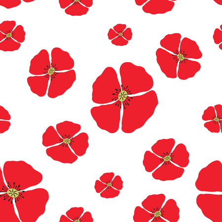 Poppy seamless pattern. Red poppies on white background. Can be uset for textile, wallpapers, prints and web design. Vector illustration Ilustracja