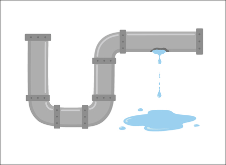 Leaking pipe with flowing water vector illustration on white isolated background