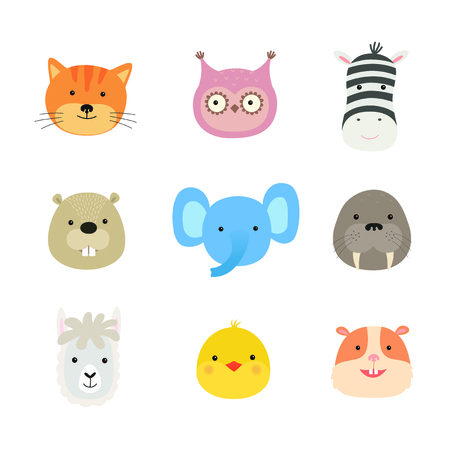 Cartoon cute animals for baby card and invitation. Zebra, elephant, walrus, owl, beaver, llama, chicken, hamster, cat. Vector illustration on white isolated background