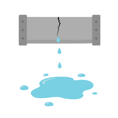 The crack in the pipe. Dripping water pipe icon, trumpet break in cartoon style on white background. Vector illustration of penetration plumbing. . Ilustracja