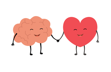 Brain and heart friends forever. Vector concept illustration of teamwork between mind and feelings. Flat design linear infographic icon on white background