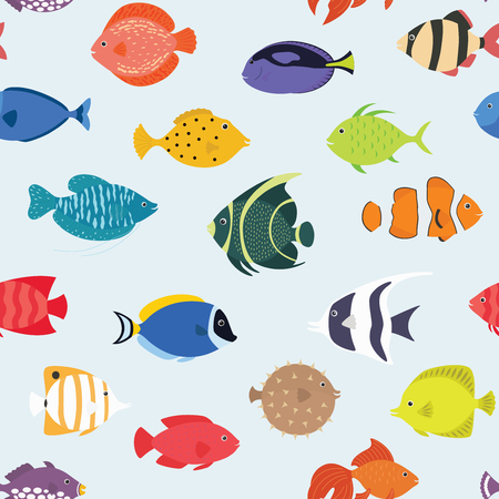 Seamless pattern with fishes. Hand drawn undersea world. Colorful artistic background. Aquarium. Can be used for wallpaper, textiles, wrapping, card, cover. Vector illustration, eps10 Çizim