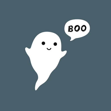 Cute little flying Ghost with white speech bubble Boo. Smiling face, hands. Flat design. Vector illustration