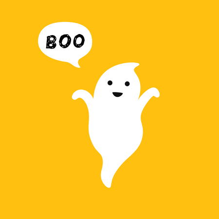 Happy flying Ghost with white speech bubble Boo. Smiling face, hands. Flat design. Vector illustration Orange greeting card background. Flat design. Çizim