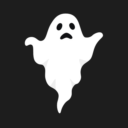Vector illustration of white ghost. Halloween spooky monster, scary spirit or poltergeist flying in night. Mystic creature without body