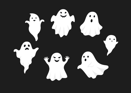 set of cute ghost creation kit, changeable face, flat design vector for halloween, isolated on black background