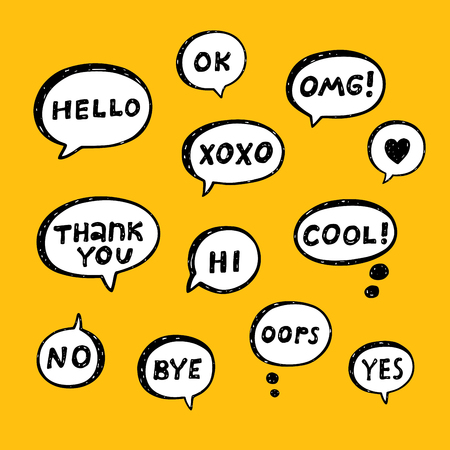 Hand drawn set of speech bubbles with handwritten short phrases yes no cool thank you bye ok omg xoxo hello hi oops