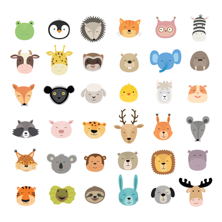 Big set of cute animal faces. Hand drawn characters. Vector illustration isolated on white background. Frog hedgehog cat zebra beaver llama lynx hippo elk tiger and other