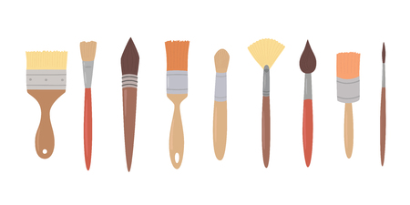 Drawing tools, set paint brushes in row on white isolated background. Artist painting materials. Hand drawn stylized sketch vector illustration.