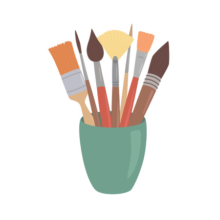 Paint brushes in cup. Cartoon style design element for artist workplaceeinterior, school class, desk top. Vector illustration on white isolated background