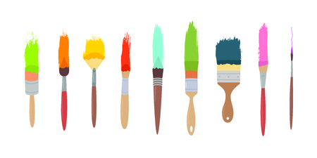art materials, line drawing set of squirrel,bristle and synthetic brushes for painting and calligraphy, hand drawn vector illustration on white isolated background Ilustracja