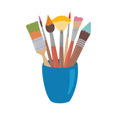 Paint brushes with colored paint in cup. Cartoon style design element for artist workplaceeinterior, school class, desk top. Vector illustration on white isolated background