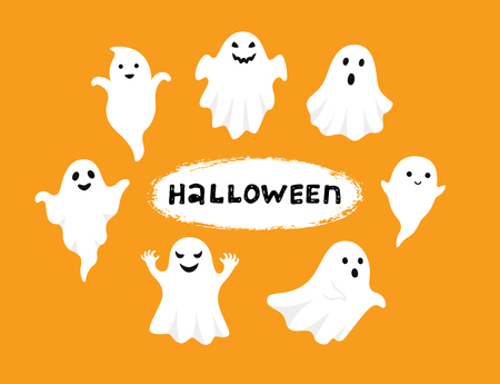 Happy Halloween, Ghost, Scary white ghosts. Cute cartoon spooky character. Smiling face, hands. Orange background Greeting card. Flat design. Vector illustration Ilustracja