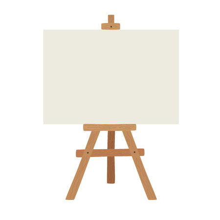 Blank art board and realistic wooden easel. Wooden brown easel with Mock Up empty blank canvas Isolated on white background. Vector illustration presentation board, isolated on white backgroun.