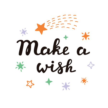 Make a wish vector typographic design. The idea for a poster, t-shirt. Lettering poster. Starfall. Ilustracja