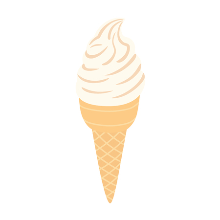 Ice cream in a waffle cone. Vector illustration on white isolated background