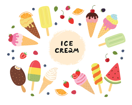 Set of ice cream with fruits and berries. Different ice cream for your design. Vector illustration on white isolated background