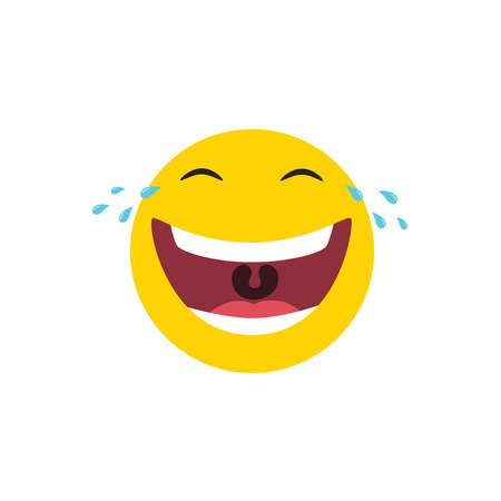 Laughing emoticon with tears of joy. Vector illustration. Ilustracja