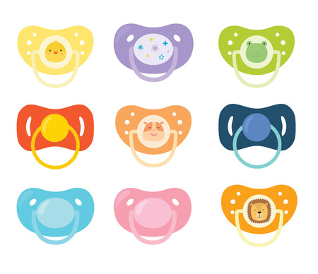 Set of childrens pacifiers. Vector illustration on white isolated background
