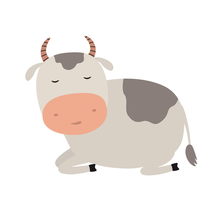 A funny cow is asleep. Vector illustration on white isolated background