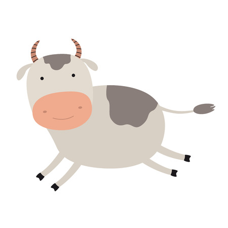Cartoon cute cow. Emblem for printing. The running cow. Image is isolated on white background. Funny animal mascot. A hilarious character for a game or a cartoon.