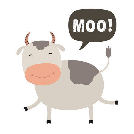 Funny cow cartoon. Talking cloud MOO. Vector Illustration on a white background