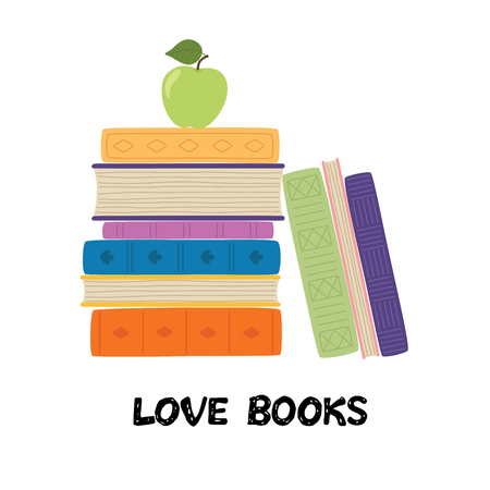 Love books. Stack of books with apple. Pile of books vector illustration. Icon stack of books in flat style.