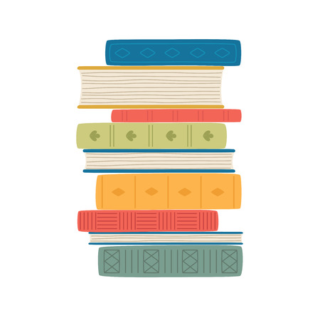 Stack of colorful books isolated on white. Vector illustration Ilustracja