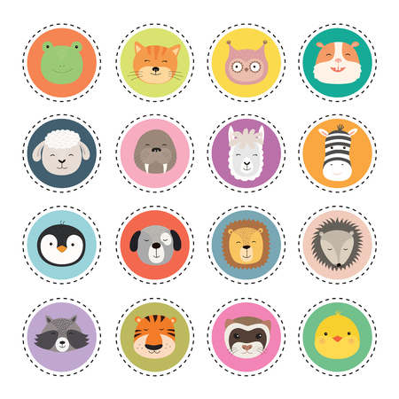 Cute animal face stickers. Vector Illustration on a white background