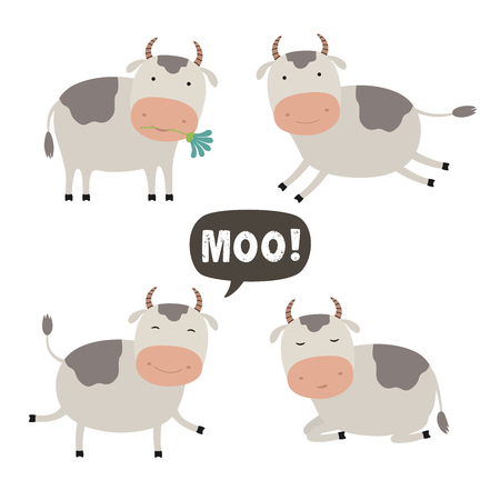 Set of Vector Cartoon Illustration. A Cute Cow for you Design. Vector Illustration on a white background