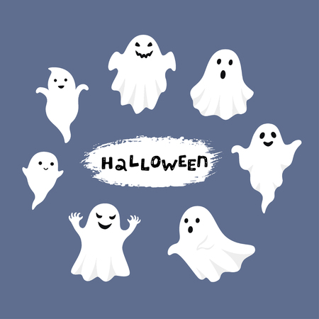 Happy Halloween, Ghost, Scary white ghosts. Cute cartoon spooky character. Smiling face, hands. Blue background Greeting card. Flat design. Vector illustration