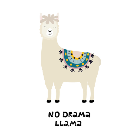 Cute llama card with No drama motivational quote. Cartoon alpaca. Vector illustration with llama for poster, card, textile, invitation etc. on white isolated background