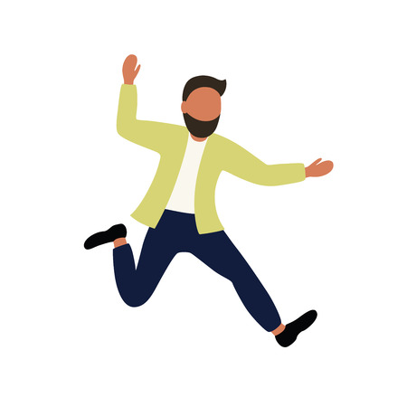 The man rejoices and jumps. Dancing boy. Vector illustration