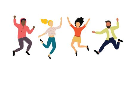 Group of young happy dancing people or male and female dancers isolated on white background. Smiling young men and women enjoying dance party. Çizim