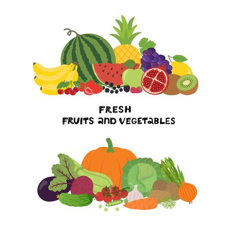 Vector illustration with fresh organic vegetables and fruits isolated on white background. Healthy Food. Set of vegetarian sliced, full, half vegetables and fruits. Ilustracja