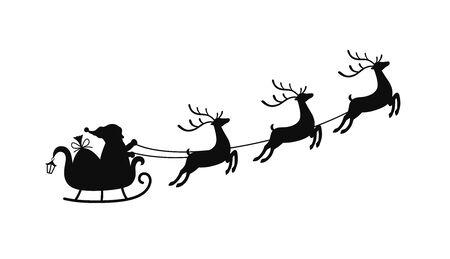 Traîneau de dessin animé de vecteur avec sac de cadeaux et de rennes, traîneau du père Noël. Élément de Noël avec des cerfs mignons. Transport traditionnel pour les vacances. Vecteurs