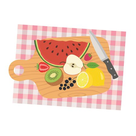 Picture of cooking desk with knife and sliced fruits. Fruit diet. Vector illustration. Çizim