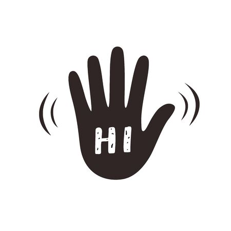 Hand wave waving hi or hello gesture flat vector icon for apps and websites. Greeting sign. Hello symbol.