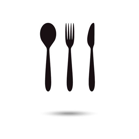 Cutlery icon. Restaurant signs. Spoon, fork and knife isolated icons on white background. Cutlery symbols.