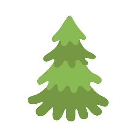 Green xmas tree isolated on white. Vector tree christmas green, traditional symbol to new year illustration