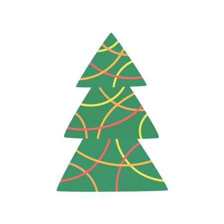 Green xmas tree decorated with Christmas garland isolated on white. Vector tree christmas green