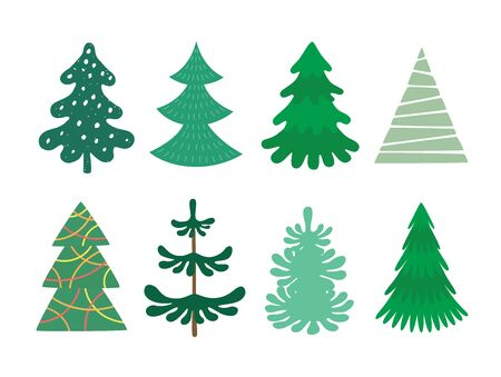 Collection of Christmas trees, modern flat design. Can be used for printed materials - leaflets, posters, business cards or for web. Çizim
