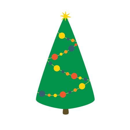 Christmas tree, vector illustration isolated on white background