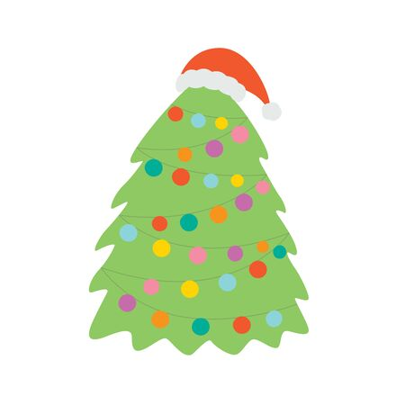 Christmas tree in the hat of Santa Claus. Vector illustration isolated on white background