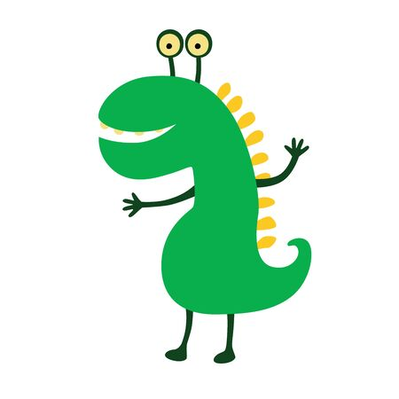 Funny smiling dinosaur. Vector illustration. Cute cartoon character.