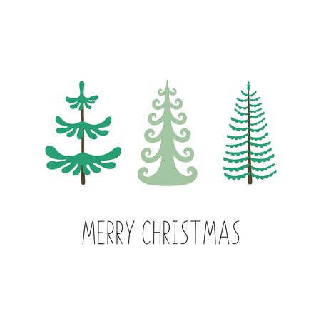 Merry christmas. Set of Christmas trees. Ideal for xmas greeting card or holiday poster.