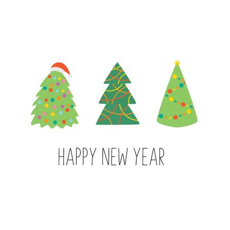 Happy New Year. Greeting Card with Christmas trees