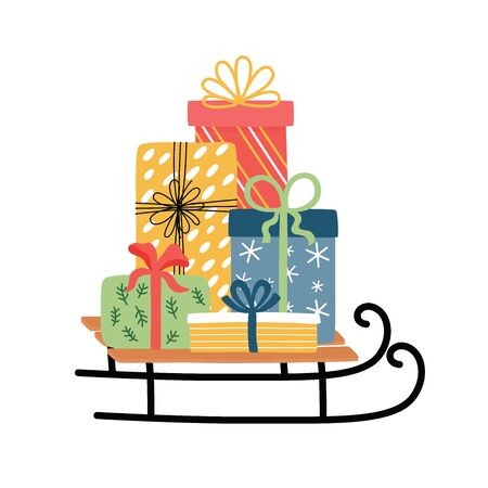 Christmas sledge with present boxes. Christmas and New Year celebrating symbols. For greeting cards, invitations design.