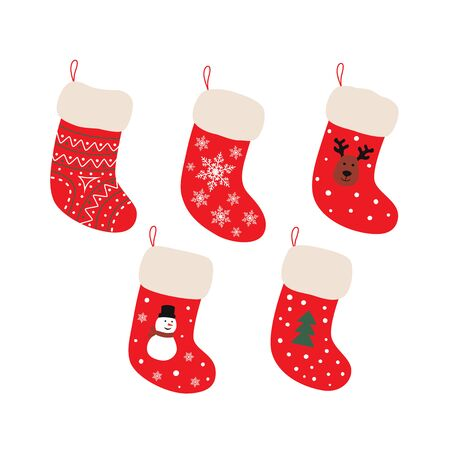 Cute Christmas Socks set - vector cartoon Illustration Çizim